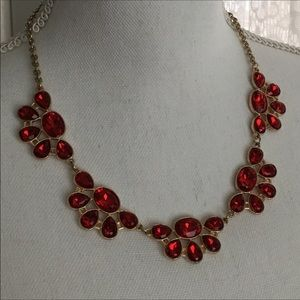 CHARMING CHARLIE Red Stone Gold Statement Necklace